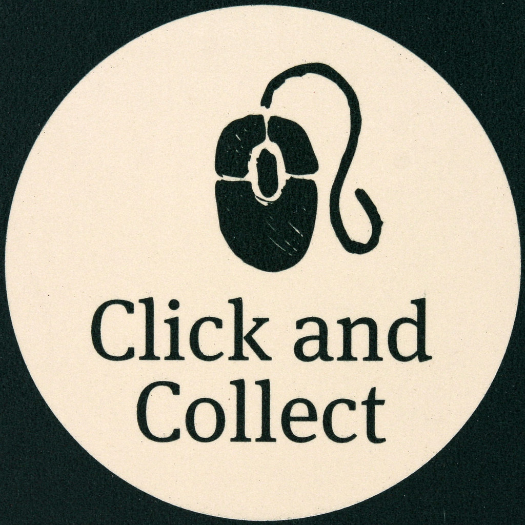 Logo of Click and Collect, dark green with a mouse in the middle and the text Click and Collect around it.